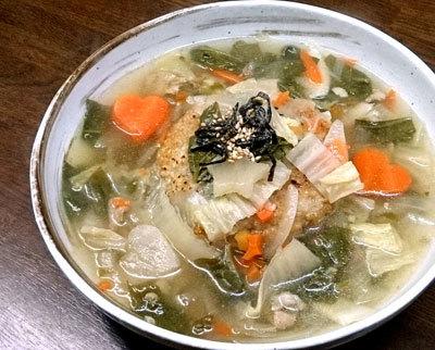 とろとろ野菜と豚肉のライスボールスープ