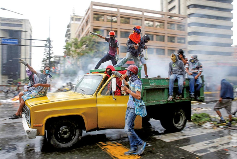 ベネズエラの首都カラカスの反政府デモ