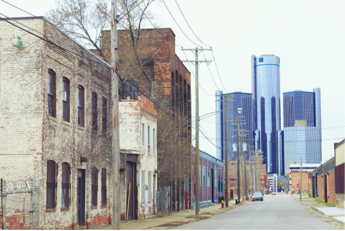 寂れたデトロイトの市街