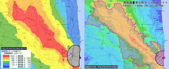 避難指示区域付近における空間線量の推移