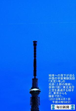 東京上空における天宮1号の光跡