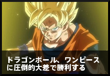 ドラゴンボール、ワンピースに圧倒的大差で勝利する