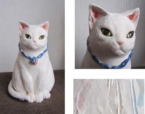 カキ落としの白猫-すず音窯-おしゃれな陶器の置物#陶芸作家めいこ