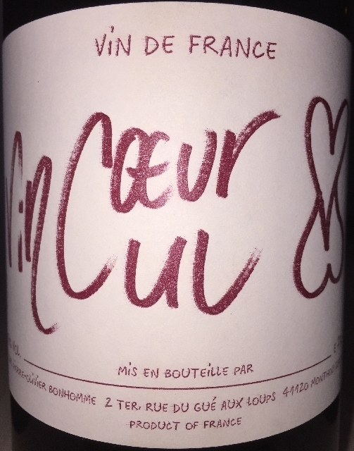 Vin Ceur Vin Cul Rouge Pierre Olivier Bonhomme 2016