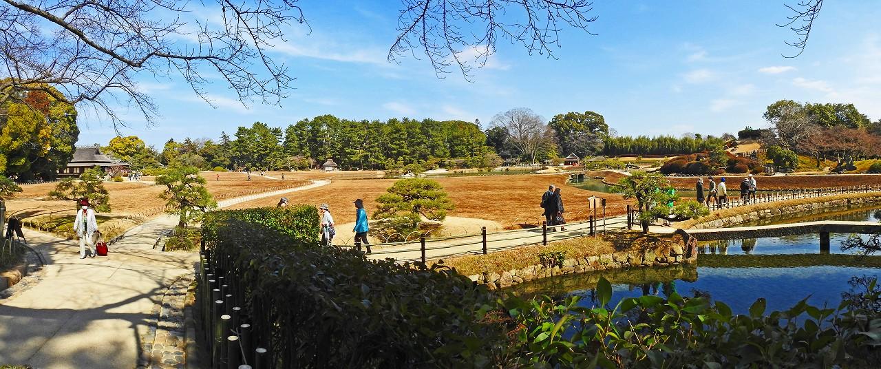 20180302 後楽園今日の南門を入って直ぐの場所から眺めた園内ワイド風景 (1)