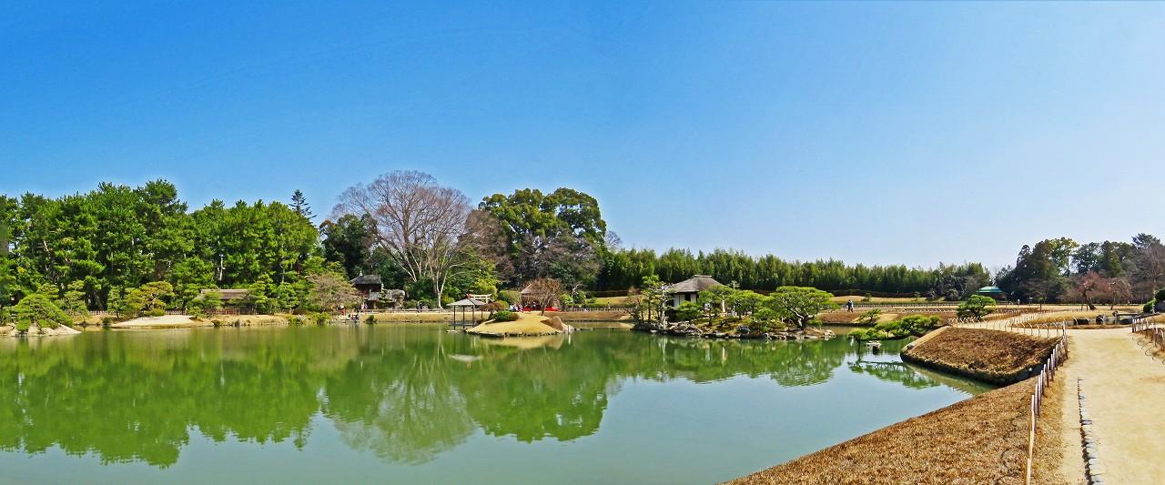 20180312 後楽園今日の沢の池越しに眺めた園内ワイド風景 (1)