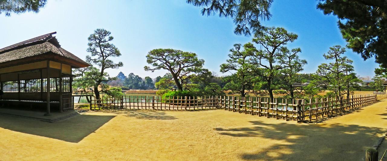 20180314 後楽園今日の観光定番位置の松林側から中攻めた園内ワイド風景 (1)