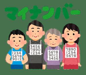 マイナンバー制度により、12桁の個人番号を割り振られた国民のイラスト