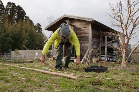 育苗ポット用可動型ビニールトンネル試作 竹のアーチ曲げ
