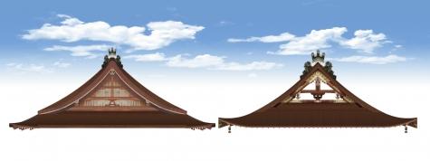 紫宸殿と常御殿の妻側の比較