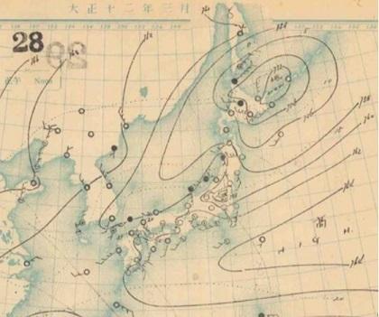 19230328地上天気図