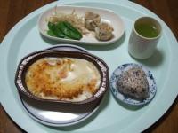 2/18 昼食 おにぎり、海老グラタン、シュウマイ、緑茶