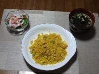 2/18 夕食 チーズ入りドライカレー、カニカマとスナップえんどうのサラダ、わかめスープ
