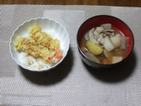 2/20 夕食 天丼、豚汁