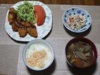 2/22 夕食 カキフライ、蒟蒻の白和え、豚汁、鮭フレークご飯