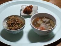 2/23 昼食 鶏のから揚げ、豚汁、納豆ご飯