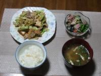 2/25 夕食 豚肉とキャベツと厚揚げのオイマヨ炒め、塩タンサラダ、油揚げの味噌汁、ご飯