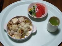 2/26 夕食 豚肉とキャベツと厚揚げのチーズ焼き、サラダ、緑茶