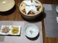 2/28 夕食 おでん、ごぼうのサラダ、もやしとコーンのカレー炒め