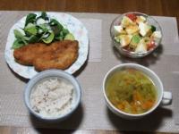 3/1 夕食 鶏ささみカツ、サラダ、ファイトケミカルスープ、雑穀ご飯