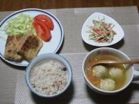 3/2 夕食 油揚げメンチ、ごぼうのサラダ、鶏ごぼう団子入りファイトケミカルスープ、雑穀ご飯