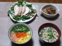 3/4 夕食 ちらし寿司、鶏の柔らか煮、肉じゃが、油揚げの味噌汁