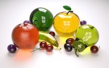 果物、ガラス、着色された、コレクション