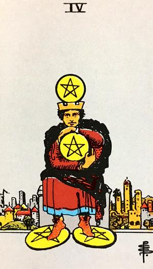タロットカード『ペンタクル4』 by占いとか魔術とか所蔵画像