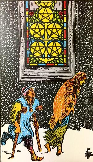 タロットカード『ペンタクルの5』 by占いとか魔術とか所蔵画像