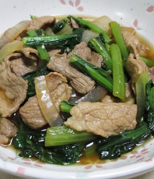 豚こまと小松菜の煮物 大