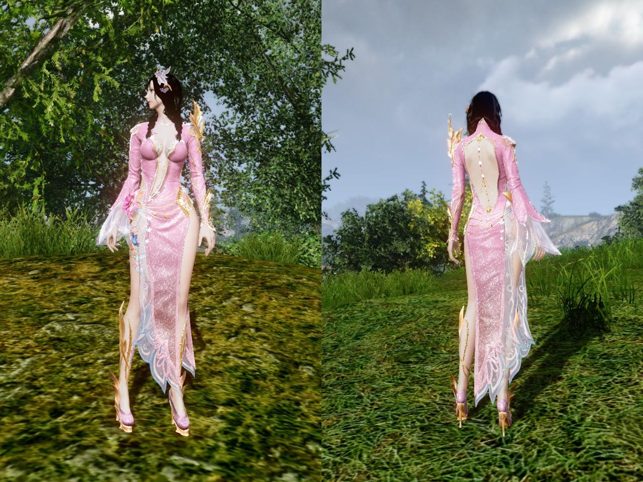 ロータスドレス 薄朱の桜色 前・背中