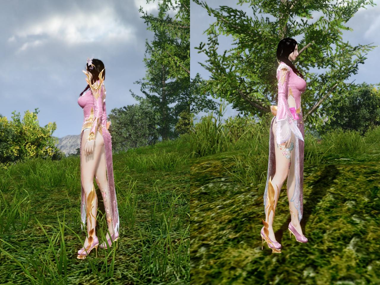 ロータスドレス 薄朱の桜色 左右