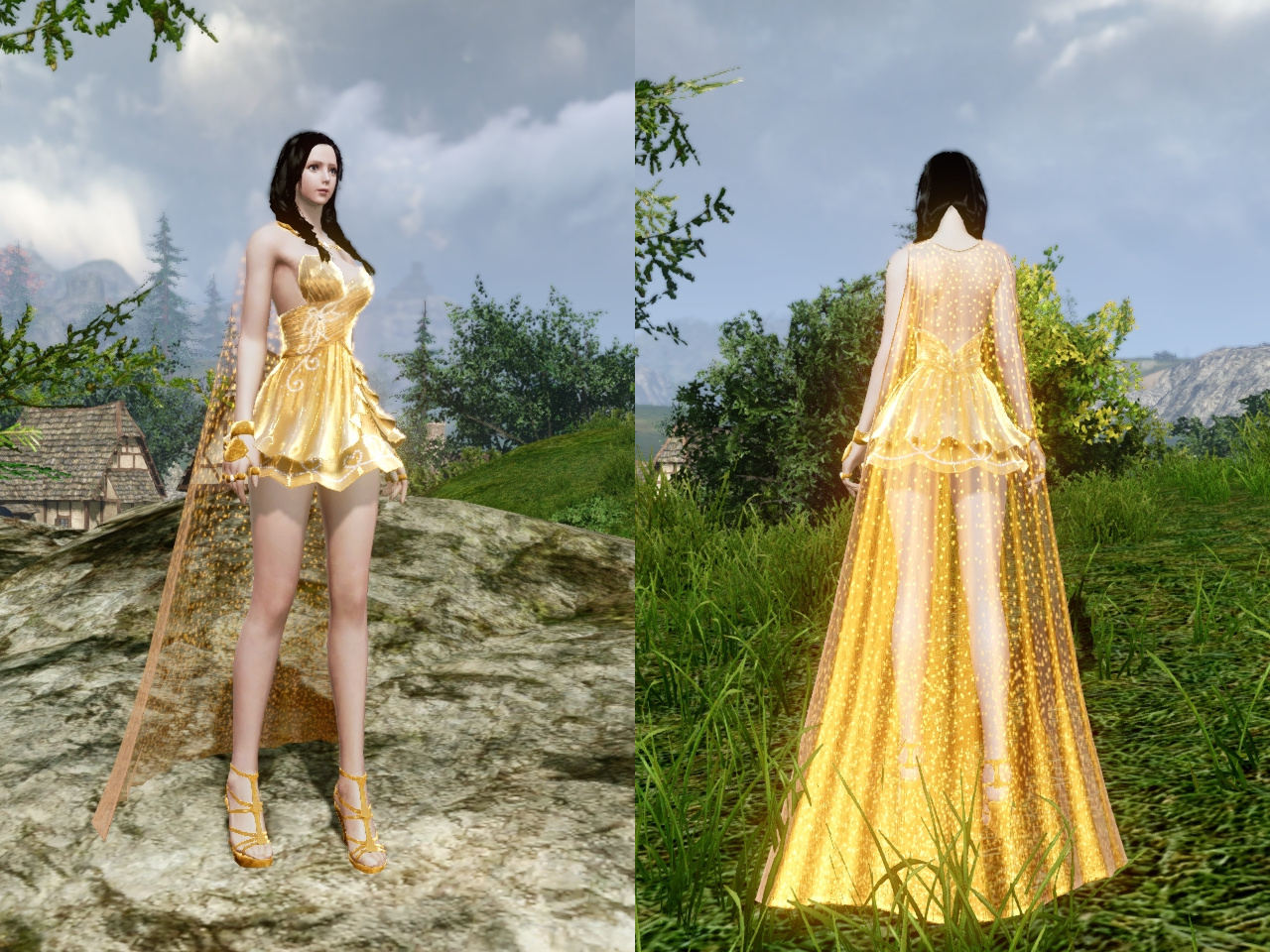 黄金の愛のドレス 前・背中