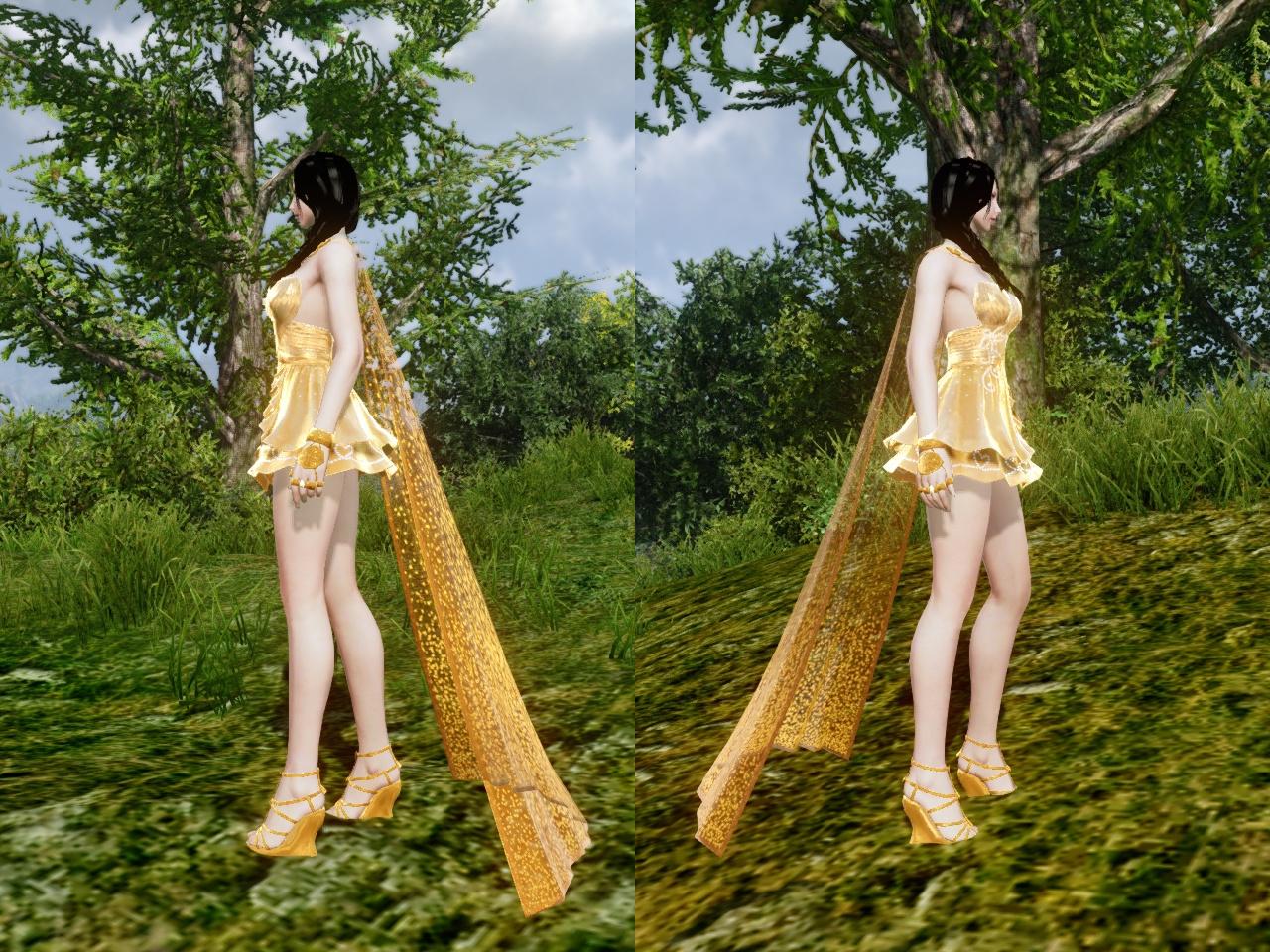 黄金の愛のドレス 左右