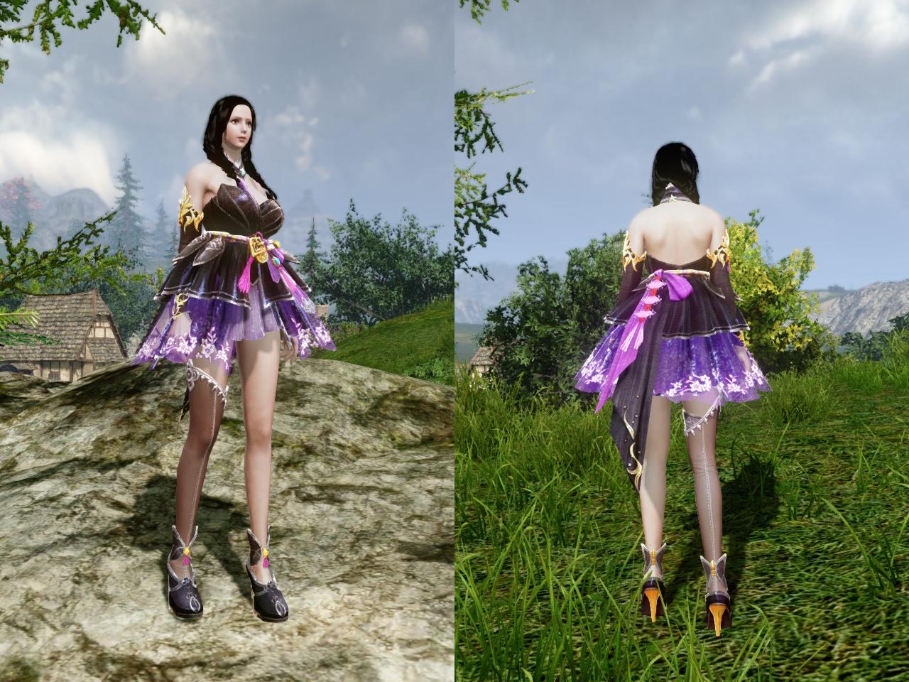 香るラベンダーの花衣装 前・背中