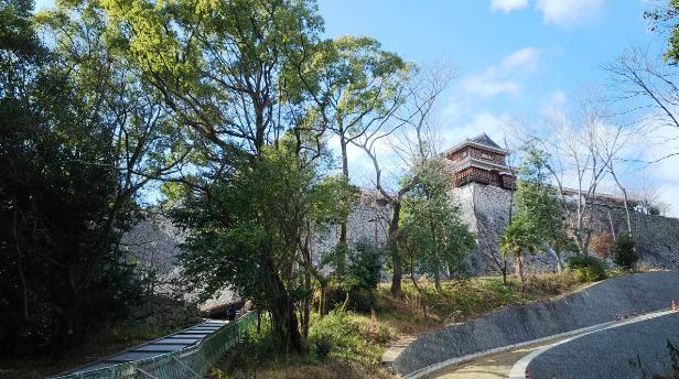 松山旅行 ロープウェイを降りて上る