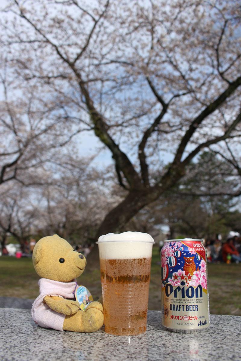 オリオンドラフトビール(桜缶)とソメイヨシノ 駿府城公園 180324