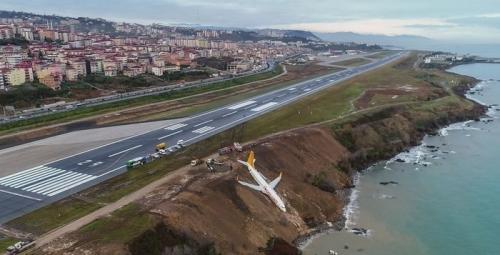 トルコでペガサス航空が滑走路から滑り落ちてあわや海に1