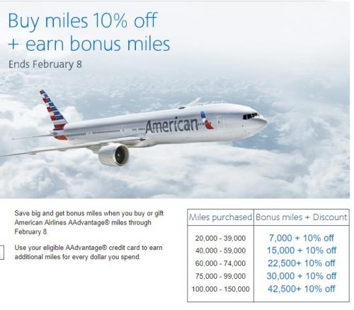 アメリカン航空 AAdvantage マイルを購入de最大43%のボーナス_ 10%OFF