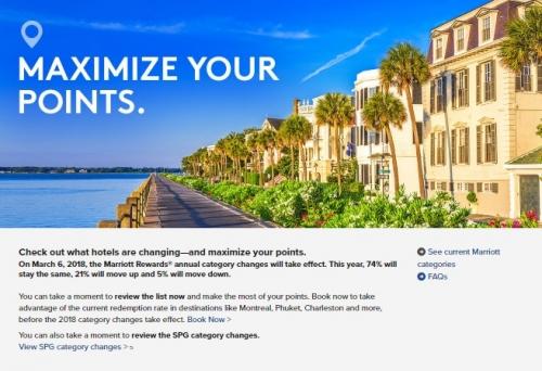 マリオットリワード 2018年の無料宿泊に関係するホテルカテゴリーを変更します。