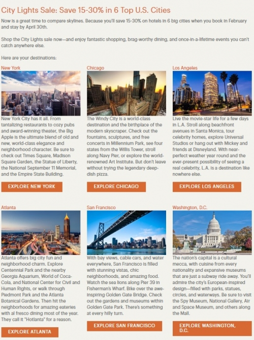 IHGリワードクラブ アメリカの人気6都市を対象に最大30%OFFセール