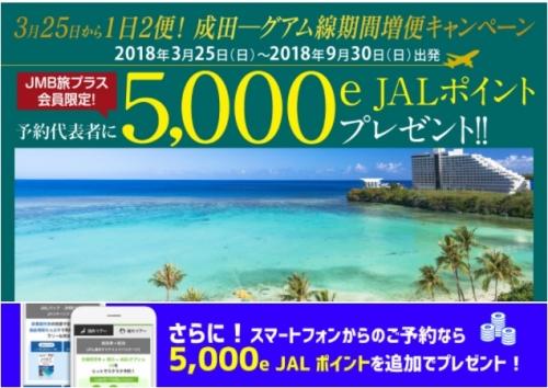 成田-グアム線 期間増便キャンペーン 最大10,000e JALポイントプレゼント