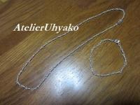 180319手作りチェーンめがね留、ネックレス&ブレス