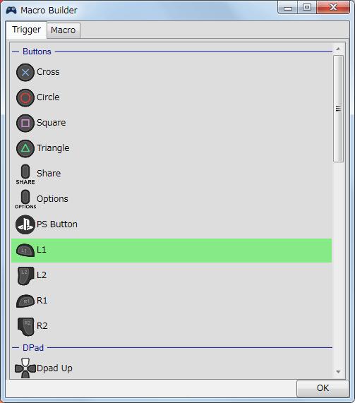 InputMapper 1.6.10 サンプルマクロ ・・・ L1 ボタンを押している間、A → B → X → Y ボタンをループさせるマクロ