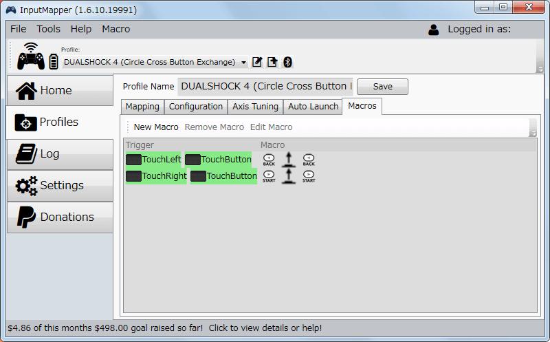 InputMapper 1.6.10 マクロ設定 タッチパッドの左右クリックに Xbox360 コントローラーの Back・Start ボタンを割り当て完了、設定後は必ずプロファイルの Save ボタンをクリックして忘れずに保存する
