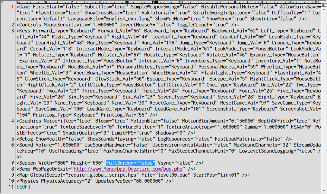 Penumbra: Requiem ウィンドウモード、settings.cfg ファイル → FullScreen true から false に変更