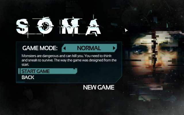 SOMA 英語版(日本語化ファイル適用前)のニューゲーム選択時のゲームモード画面、GAME MODE NORMAL