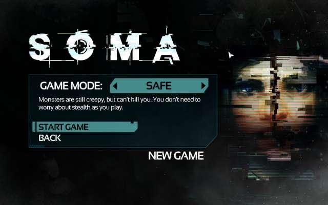SOMA 英語版(日本語化ファイル適用前)のニューゲーム選択時のゲームモード画面、GAME MODE SAFE
