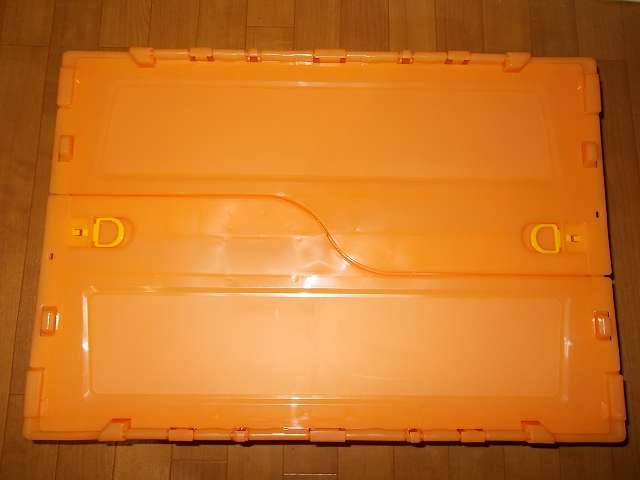 トラスコ中山 TRUSCO 薄型折りたたみコンテナ スケルコン 50L ロックフタ付 オレンジ TSK-C50B OR 購入