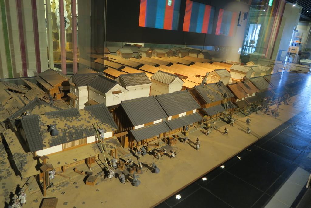 江戸時代の火消し作業の模型